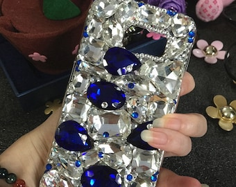 New Bling Luxury Assorted Clear Navy Blue Charm Sparkles Gems Crystals Rhinestones Diamonds Fashion Lovely Hard Cover Case for Mobile Phones