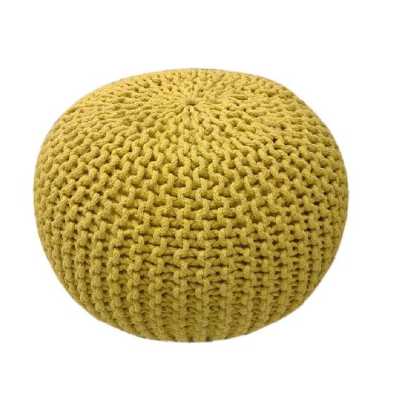 Handmade Knitted Pouf Custard Yellow Hand Knit Pouf