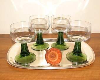 6 wine glasses from the 60s glass 0.20 liter Ruwer Green Ribbed Wine Glasses , Vintage Schott Zwiesel stemware Shot Glass Goblets