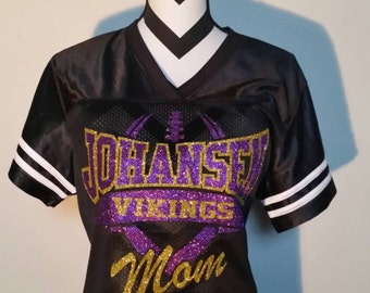 Custom Blinged Football Mom Football Jersey