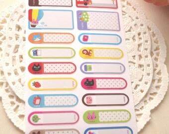 Cute KAWAII Name Labels/ kawaii stickers/36 Stickers/1 pack/Acid Free