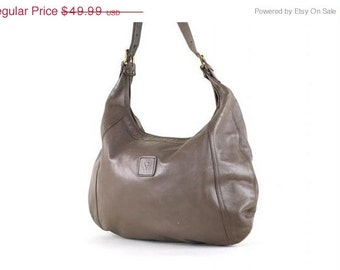 ON SALE Vtg 70s/80s Distressed Gray/Taupe BIG Anne Klein Purse Hobo Large Leather Bag