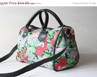 ON SALE Vtg 80s/90s Floral Revival Leather & Cotton Multi Handle Purse Bag Made MAINE