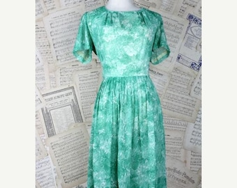 ON SALE 60s/70s Green Sheer Betty Hartford Dress Vintage Silhouette Waist Pleats L