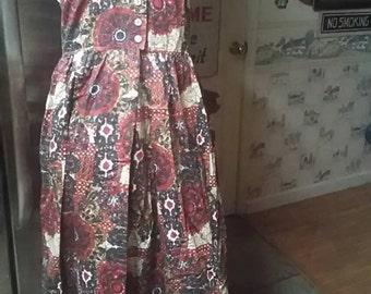 Vintage 1970s Patty Woodard Cotton Print Halter Dress