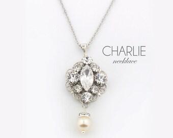 Bridal necklace - wedding jewelry necklace - Swarovski crystal - handmade crystal pendant - couture wedding jewelry - Charlie necklace