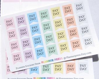 Pay Day Pendant Flag Pastel Font One Reminder Planner Sticker fits Erin Condren Life Planner (ECLP) Reminder Sticker 1248