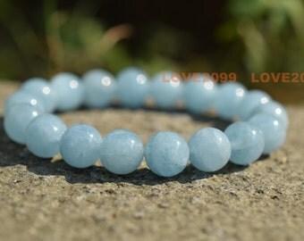 10mm Natural Aquamarine bracelet, blue stone bracelet, light blue bracelet, healing bracelet, March birthstone, sea blue bracelet