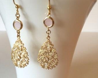 Gold Chandelier Earrings, Pink Coral Earrings, Modern Earrings, Elegant Earrings, Gold Teardrop Earrings, Dainty Earrings, Bridal Earrings
