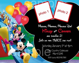 Minnie and Mickey Mouse Birthday Invitation. Minnie Mouse Clubhouse. Mickey Mouse Clubhouse Invitation. Double Invite. Digital (you print)