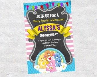 Carebears Birthday invite,Carebears invite,JPG file,Invite,Birthday Invite,Carebears Party,Carebears invite, Care bears Birthday invitation