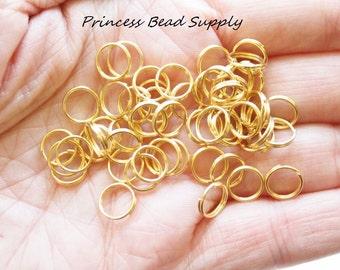 100 8mm Gold Stainless Steel Split Rings