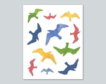 Colorful Birds in Flight Art Print Poster