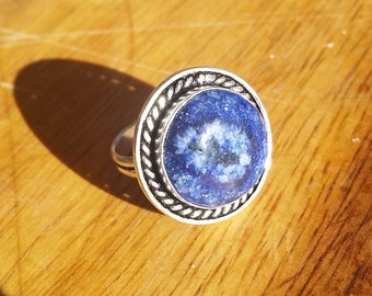 Blue Dragon Veins Agate Ring Size 7