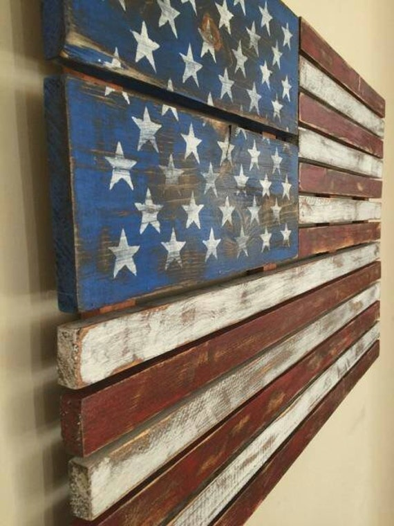 Items Similar To American Flag Pallet Art Hand Painted