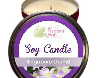 Singapore Orchid Scented 100% Soy Wax Candle approximately 40 + hours burn time