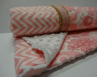 Pink baby blanket, Pink minky baby blanket, pink quilt top baby blanket