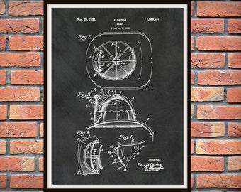 Patent 1932 Firemans Helmet -  Art Print - Poster - Wall Art - Fire House Art - Fire Fighter - Fire Equipment - Fire Fighter Art - Man Cave
