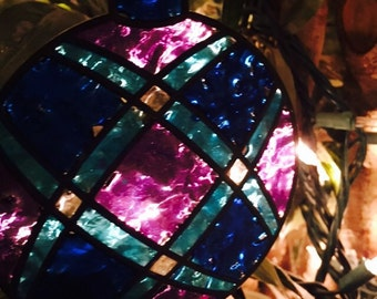 Blue and purple stained glass ornament