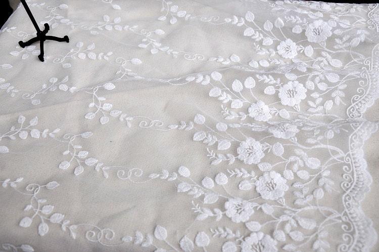 breite 5118 zoll milch wei er spitze stoff blumen bestickte. Black Bedroom Furniture Sets. Home Design Ideas