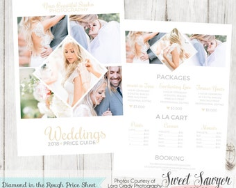 INSTANT DOWNLOAD - Wedding Price Sheet Template for Professional Photography Marketing