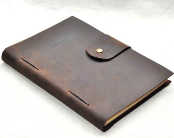 custom leather line journal  notebook A5 size  (free stamp)