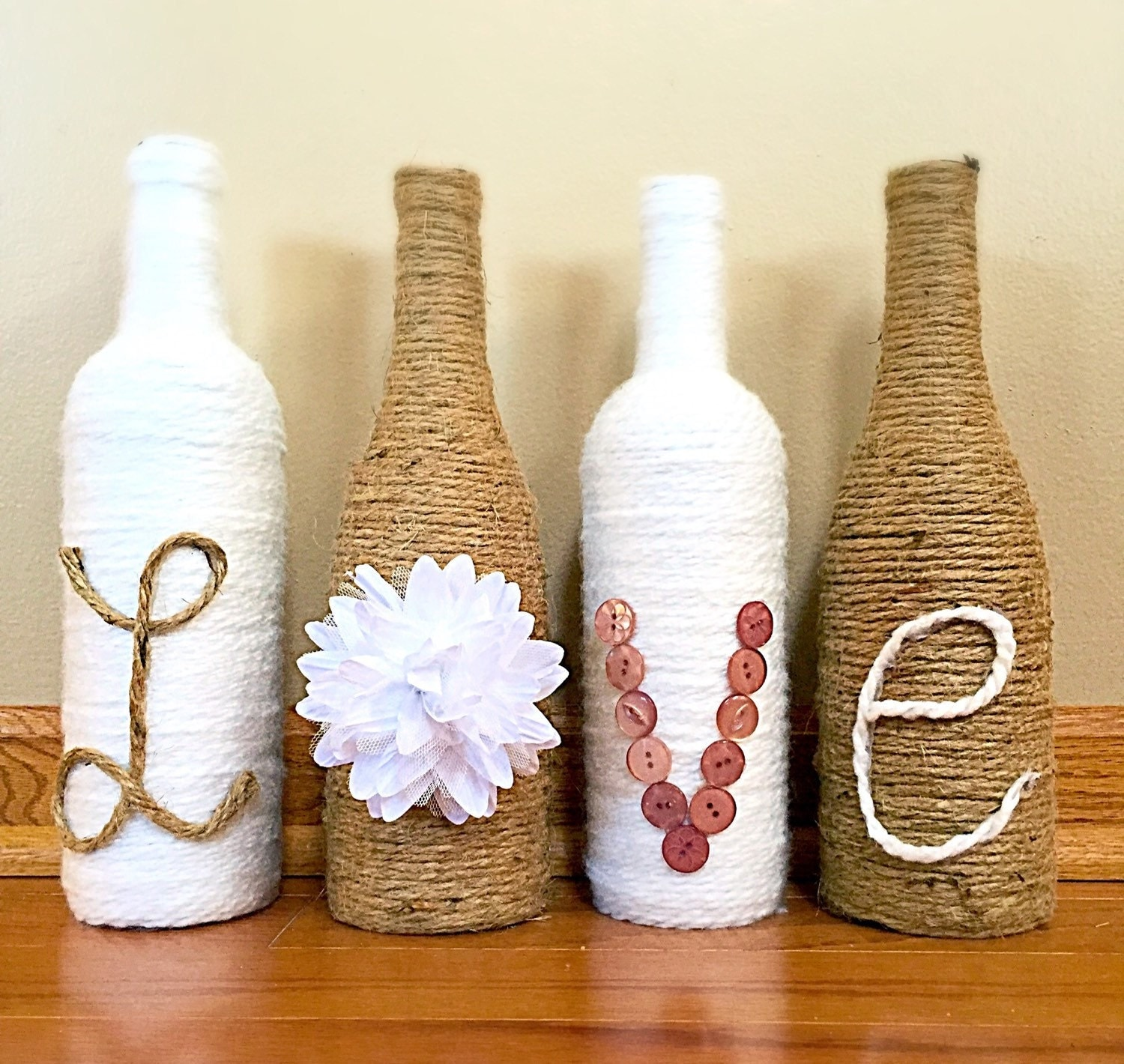Twine / yarn wrapped wine bottles / Upcycled by ... |Twine Covered Wine Bottles