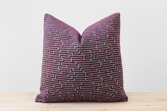 Purple and Mint Geometric Velvet Pillow Cover Purple Wine Cushion Modern Throw Pillows Labyrinth Maze Patterns Purple Pillows 18x18 20x20