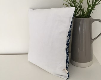 Chic white linen and pinwheel hand woven, hand dyed cushion, 16""