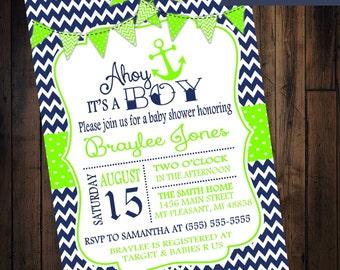 Navy Blue Chevron with Lime Green Nautical Baby Shower Invitation - Digital JPG Copy