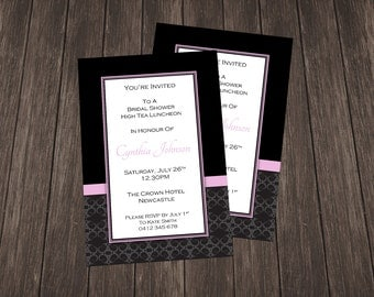 Bridal Shower Invite-Black and Light Pink Damask