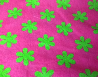 Twin Bed Skirt by KOMBOZE Bright Pink with Green Flowers