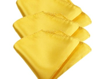"Solid Yellow Gold Men's Pocket Square Hanky Handkerchief 3pcs set 10"" x 10"""