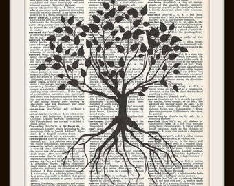Tree of  Life  Silhouette--Vintage Dictionary Art Print---Fits 8x10 Mat or Frame
