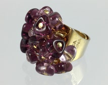 Vintage Antica Murrina Amethyst Murano Glass Drops Ring - Hand Made Venice Italy Statement Ring Size 6.5