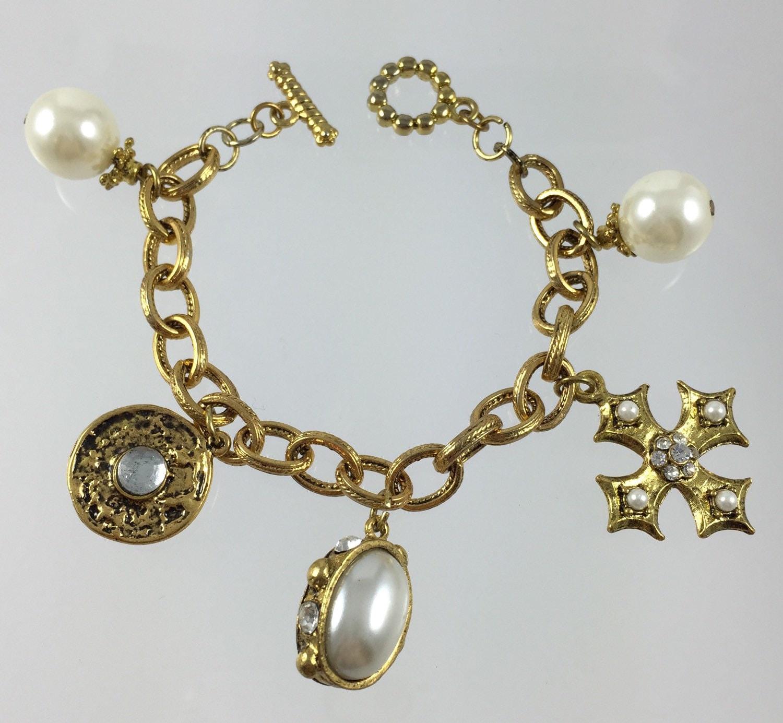 gold pearl charm bracelet chunky gold tone cross charm