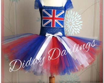 Union Jack Tutu Dress. Glitter Union Jack Applique. Inspired Handmade Dress. All Sizes Fully Customised. Could Change to Any Flag and Colour