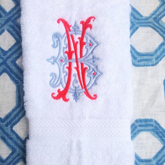 Monogram Towels For Bathroom: Embroidered Monogram White Bath Hand Towels By HempsteadThread