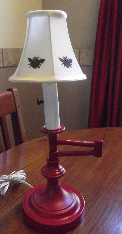 vintage metal table lamp hand painted metal table lamp. Black Bedroom Furniture Sets. Home Design Ideas