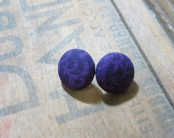 Purple Swirl Fabric Button Earrings