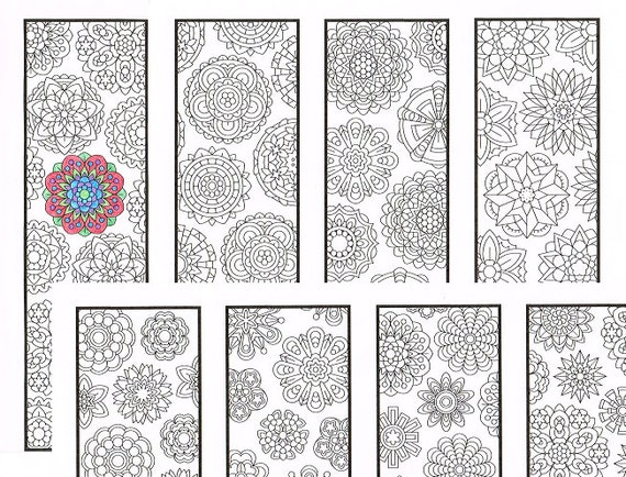 Coloring Bookmarks Two Flower Mandala Pattern Coloring Pages