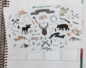Rustic Mountain stickers for Planner or scrapbook!