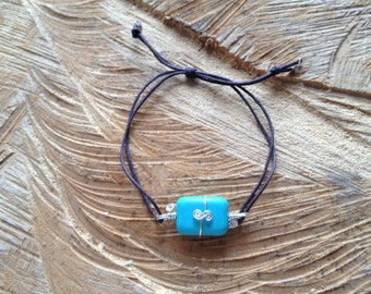 Blue Magnesite (dyed) bracelet with Sterling Silver