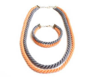 Orange and gray rope jewelry set: handmade necklace and bracelet.