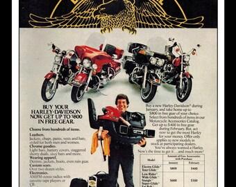 "Vintage Print Ad February 1981 : Harley Davidson Motorcycle Wall Art Decor 8.5"" x 11"""