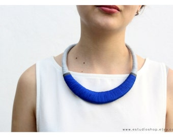Blue necklace, blue and gray, statement necklace, african necklace, ethnic necklace, different, statement jewelry, crochet necklace