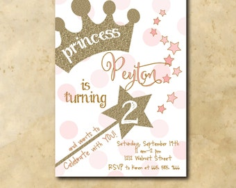 Princess Birthday Invitation with gold glitter detail / digital file / printable/ wording and age can be changed