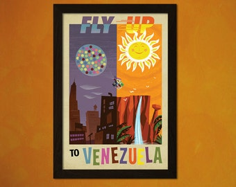 Fly Up To Venezuela Print - Vintage Tourism Travel Poster Advertising Retro Wall Decor Home Design  t- 1 Free Print