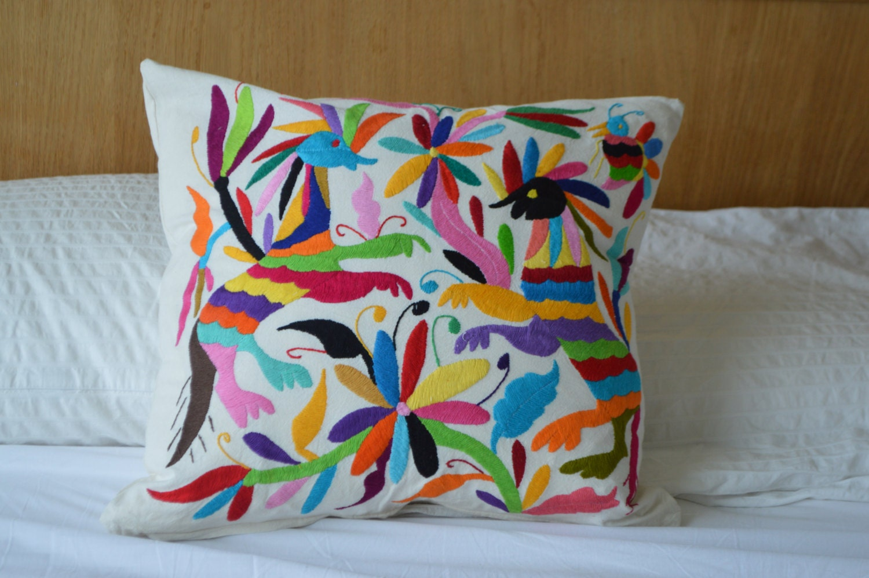 Organic mexican pillow cover handmade textile