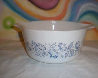 Pyrex Colonial Mist Blue Daisy Casserole #474 Vintage 1960's Cooking Baking Kitchen Serving Ovenware Dining Storage
